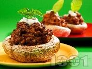 Пълнени гъби печурки с телешка кайма, спанак и моцарела на фурна